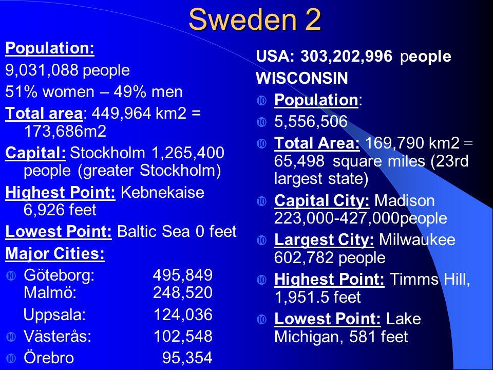 Sweden 2 Population: 9,031,088 people 51% women – 49% men Total area: 449,964 km2 = 173,686m2 Capital: Stockholm 1,265,400 people (greater Stockholm) Highest Point: Kebnekaise 6,926 feet Lowest Point: Baltic Sea 0 feet Major Cities:  Göteborg: 495,849 Malmö: 248,520 Uppsala:124,036  Västerås:102,548  Örebro 95,354 USA: 303,202,996 people WISCONSIN  Population:  5,556,506  Total Area: 169,790 km2 = 65,498 square miles (23rd largest state)  Capital City: Madison 223,000-427,000people  Largest City: Milwaukee 602,782 people  Highest Point: Timms Hill, 1,951.5 feet  Lowest Point: Lake Michigan, 581 feet