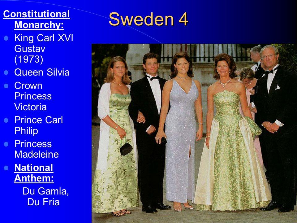 Sweden 4 Constitutional Monarchy: King Carl XVI Gustav (1973) Queen Silvia Crown Princess Victoria Prince Carl Philip Princess Madeleine National Anthem: Du Gamla, Du Fria