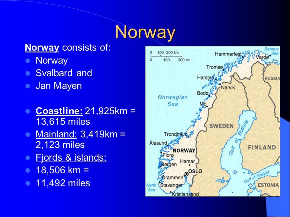 Norway Norway consists of: Norway Svalbard and Jan Mayen Coastline: 21,925km = 13,615 miles Mainland: 3,419km = 2,123 miles Fjords & islands: 18,506 km = 11,492 miles