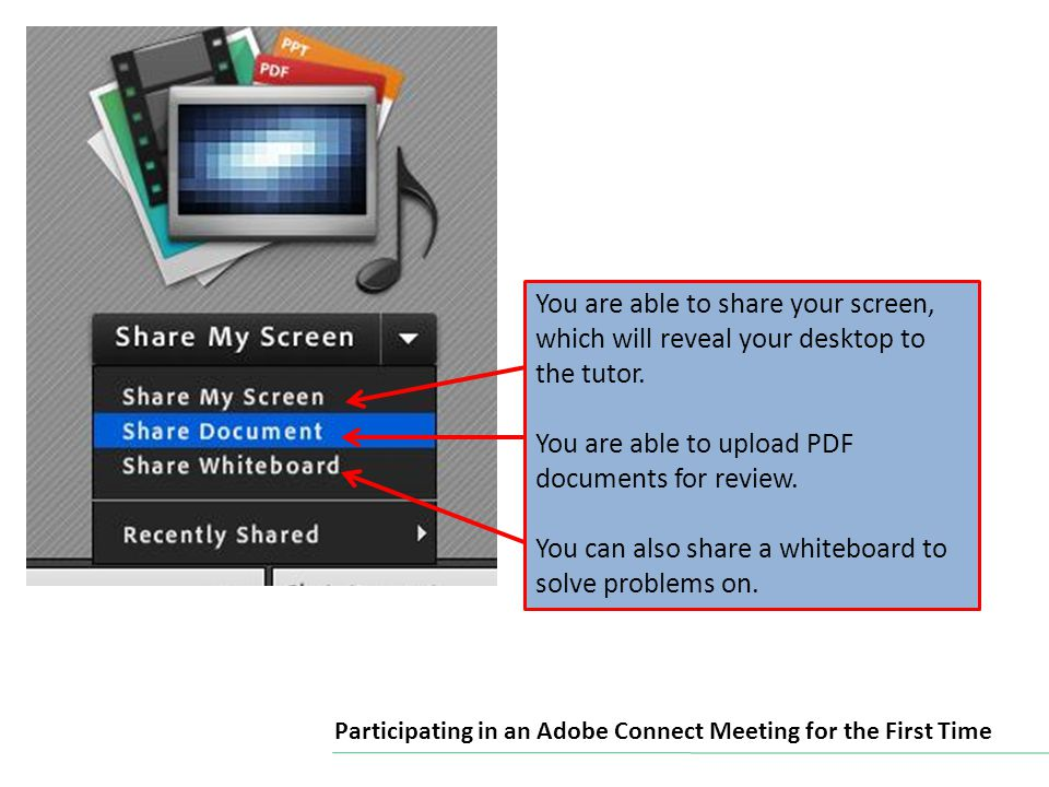 You are able to share your screen, which will reveal your desktop to the tutor.