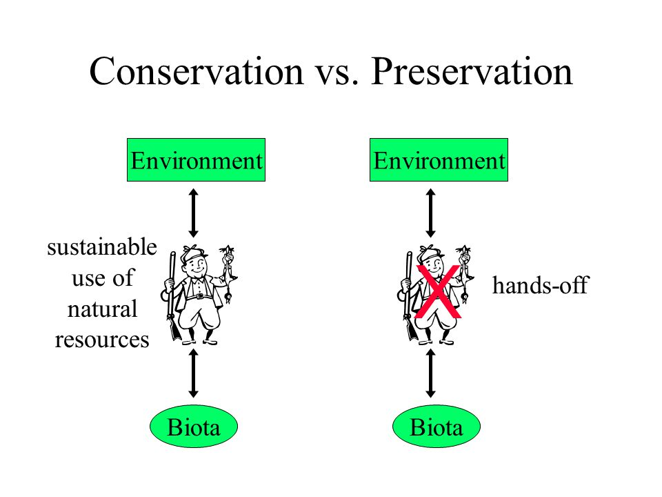 Conservation vs. Preservation Environment Biota Environment Biota hands-off sustainable use of natural resources X