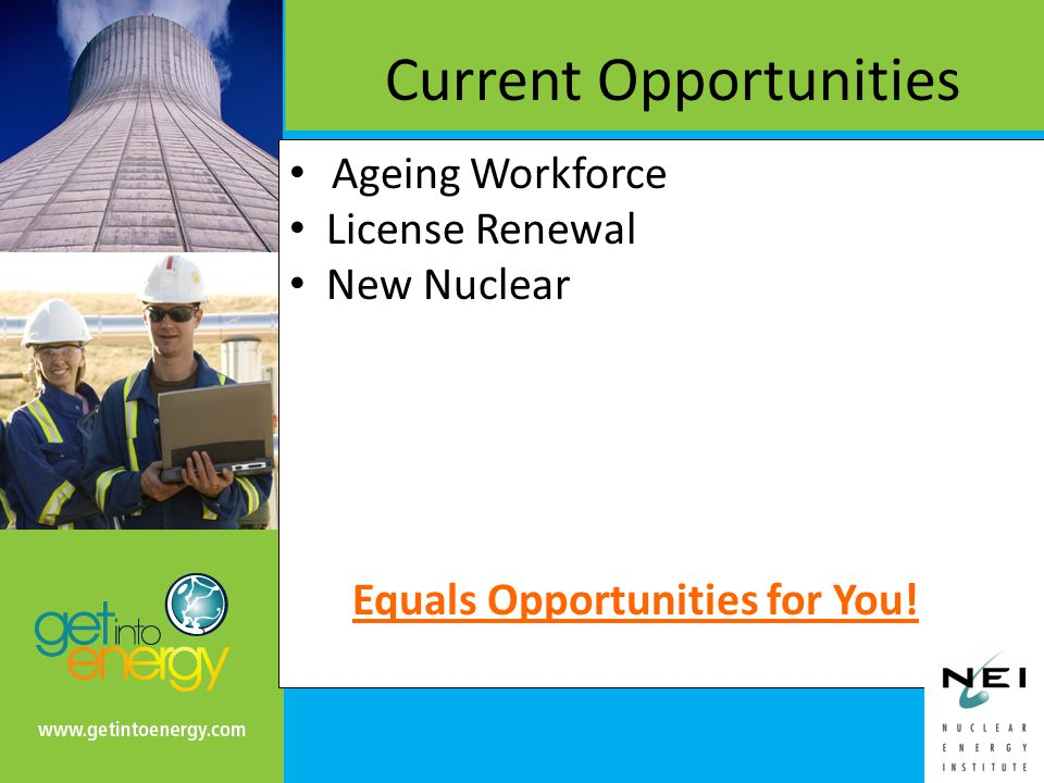 Ageing Workforce License Renewal New Nuclear Current Opportunities Equals Opportunities for You!