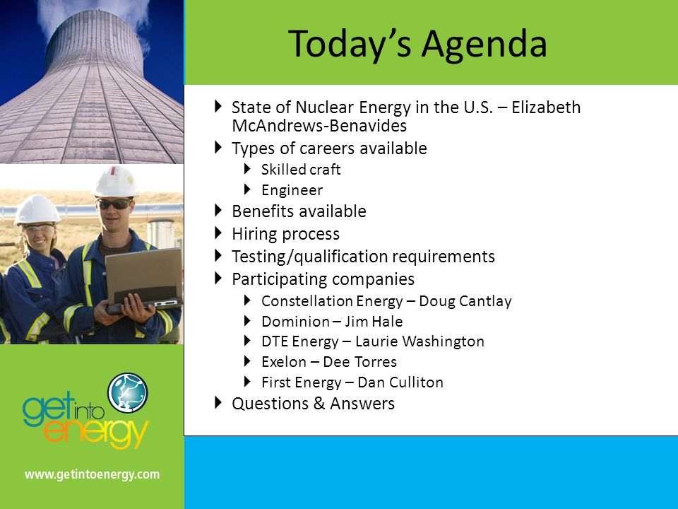 Today's Agenda  State of Nuclear Energy in the U.S.