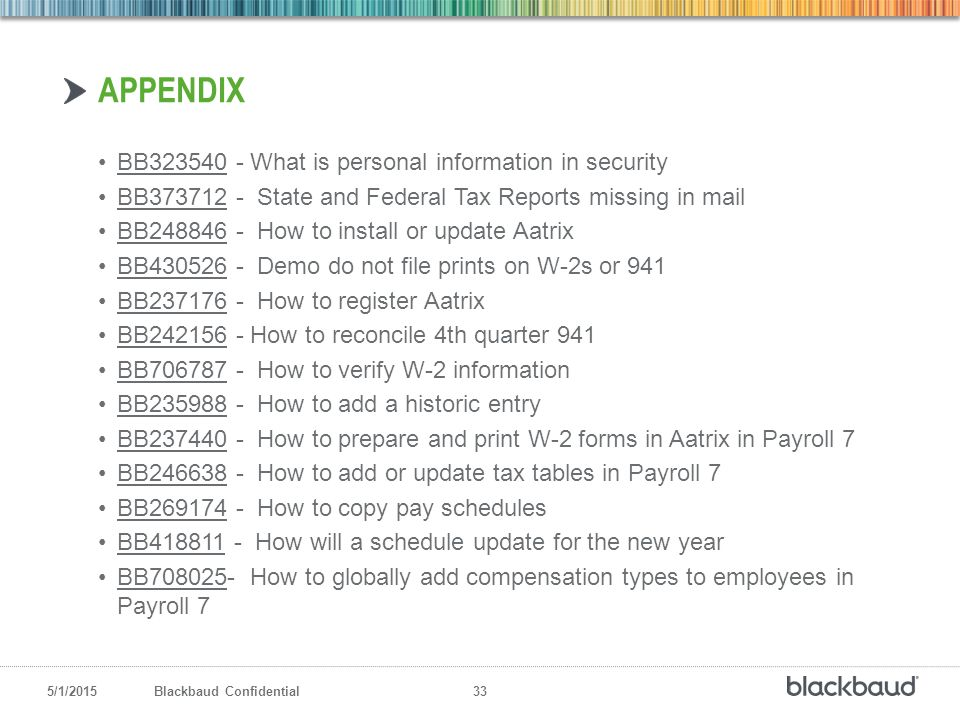 5/1/2015Blackbaud Confidential 33 BB323540 - What is personal information in securityBB323540 BB373712 - State and Federal Tax Reports missing in mail