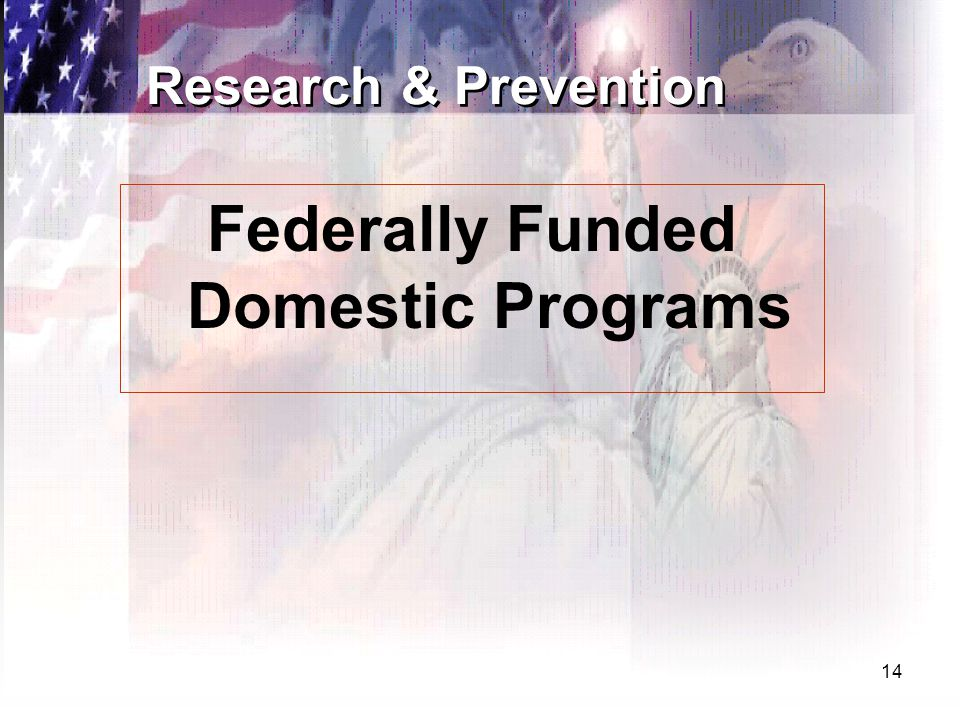 14 Research & Prevention Federally Funded Domestic Programs