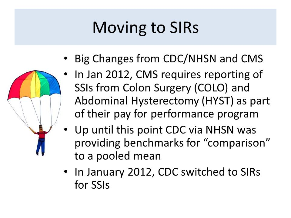 Moving to SIRs Big Changes from CDC/NHSN and CMS In Jan 2012, CMS requires reporting of SSIs from Colon Surgery (COLO) and Abdominal Hysterectomy (HYS