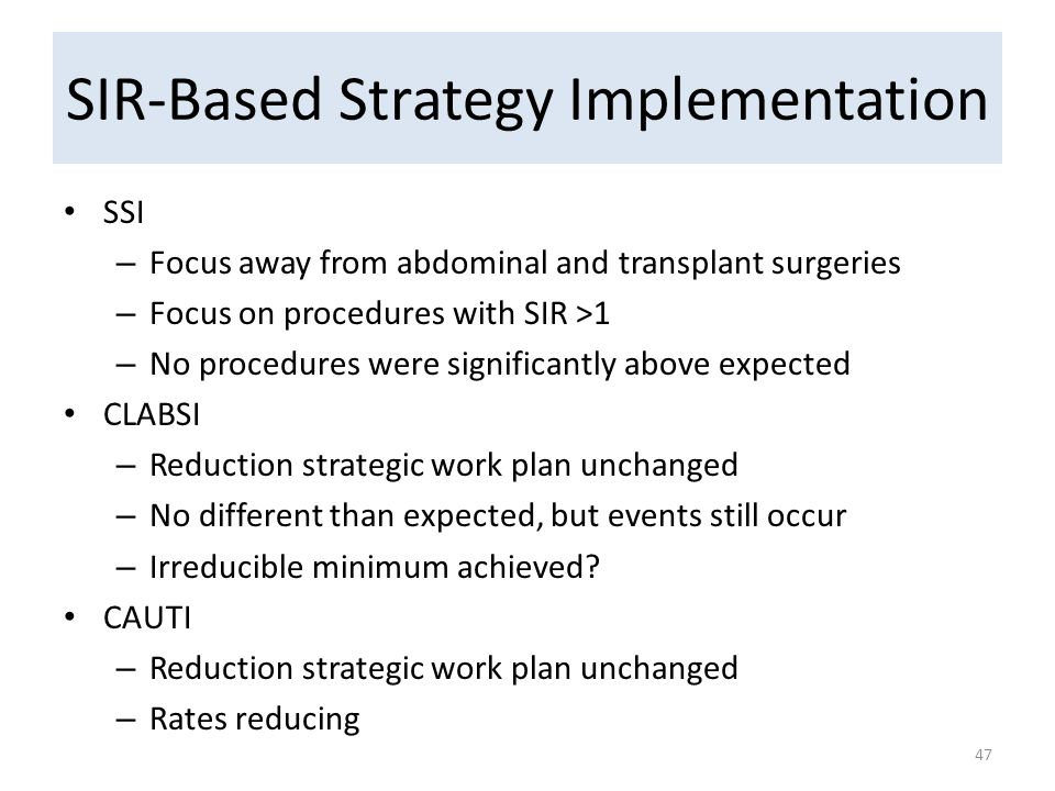 SIR-Based Strategy Implementation SSI – Focus away from abdominal and transplant surgeries – Focus on procedures with SIR >1 – No procedures were significantly above expected CLABSI – Reduction strategic work plan unchanged – No different than expected, but events still occur – Irreducible minimum achieved.
