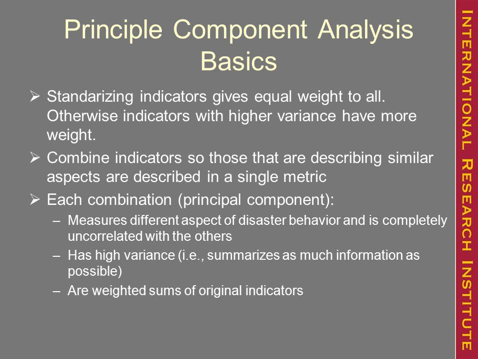 Principle Component Analysis Basics  Standarizing indicators gives equal weight to all.