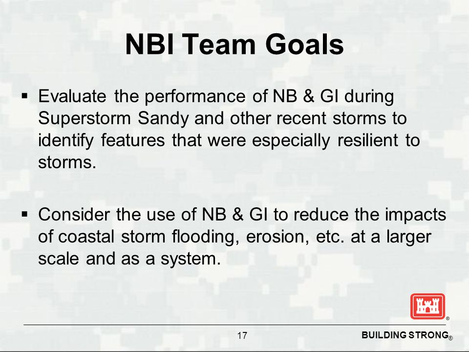 BUILDING STRONG ® NBI Team Goals  Evaluate the performance of NB & GI during Superstorm Sandy and other recent storms to identify features that were