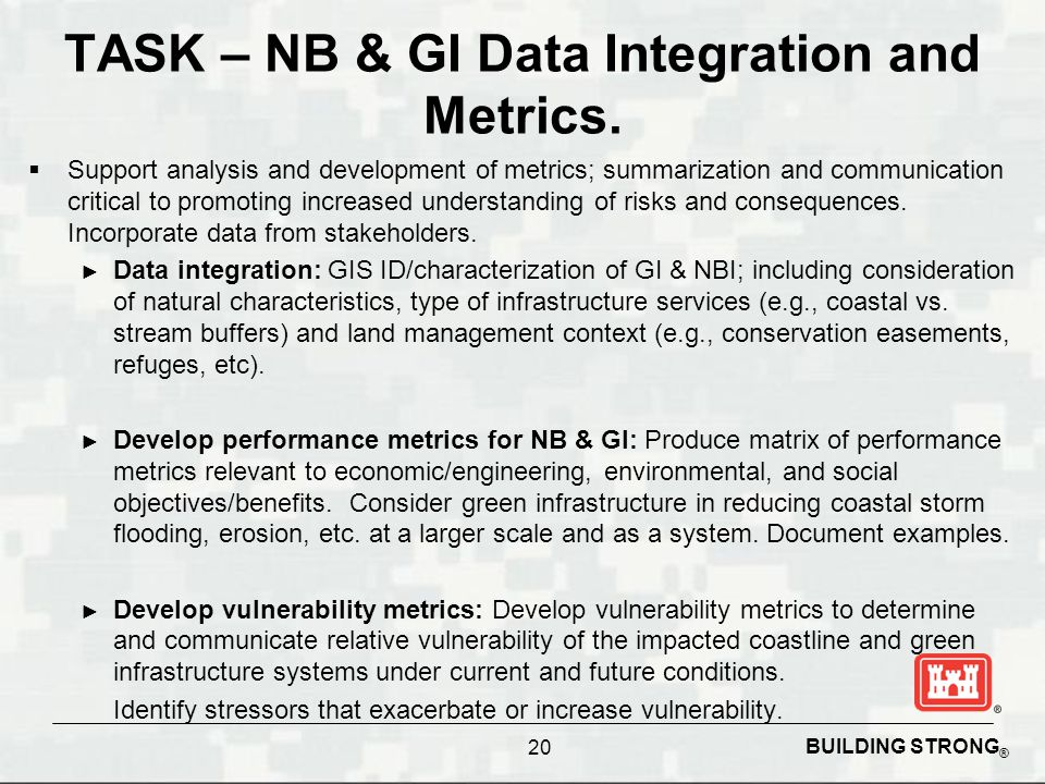 BUILDING STRONG ® TASK – NB & GI Data Integration and Metrics.  Support analysis and development of metrics; summarization and communication critical