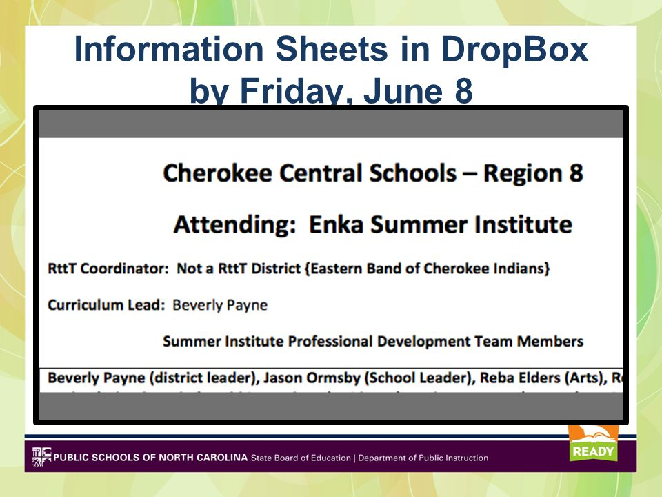 Information Sheets in DropBox by Friday, June 8
