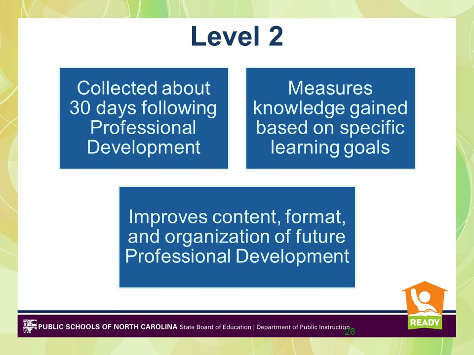 Level 2 Collected about 30 days following Professional Development Measures knowledge gained based on specific learning goals Improves content, format