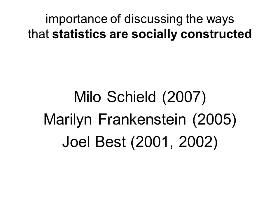importance of discussing the ways that statistics are socially constructed Milo Schield (2007) Marilyn Frankenstein (2005) Joel Best (2001, 2002)