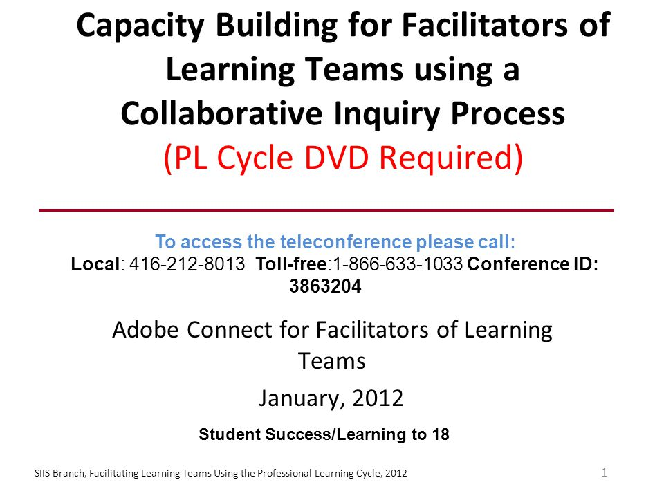 Type A – Take Five Take five minutes for your team to: -Clarify the activity -Consider in terms of local context -Note points for future discussion SIIS Branch, Facilitating Learning Teams Using the Professional Learning Cycle, 201222