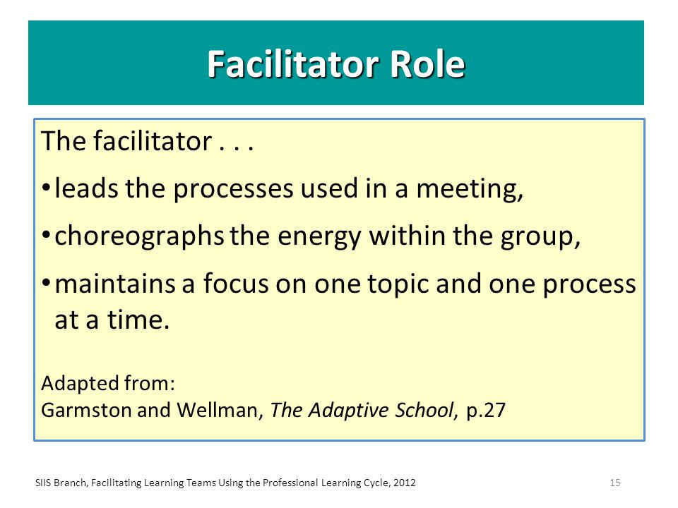 Facilitator Role The facilitator... leads the processes used in a meeting, choreographs the energy within the group, maintains a focus on one topic an