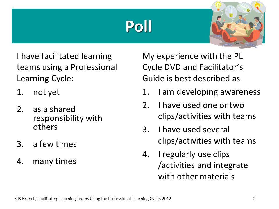 SIIS Branch, Facilitating Learning Teams Using the Professional Learning Cycle, 2012 53 anne.clifton@ontario.ca karen.greenham@ontario.ca karina.kozlowska@ontario.ca Thank you.