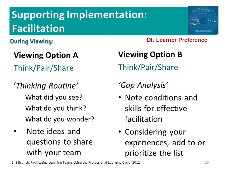 Supporting Implementation: Facilitation Viewing Option A Think/Pair/Share 'Thinking Routine' What did you see? What do you think? What do you wonder?