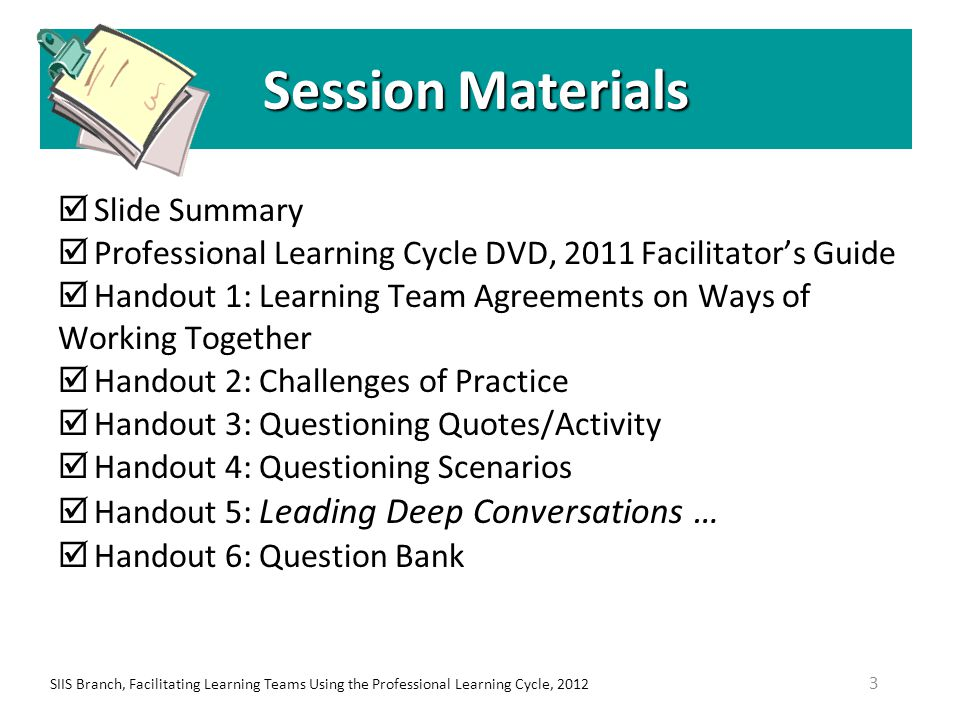 SIIS Branch, Facilitating Learning Teams Using the Professional Learning Cycle, 201214 Implications of School-based Inquiry Teams Using a collaborative inquiry model: (Shifts teacher) attribution of improved student performance to … teaching rather than external causes (Gives focus to) an academic problem long enough to develop an instructional solution SOURCE: Moving the Learning of Teaching Closer to Practice: Teacher Education Implications of School-based Inquiry Teams 1, Ronald Gallimore, LessonLab Research Institute & UCLA, May 2009