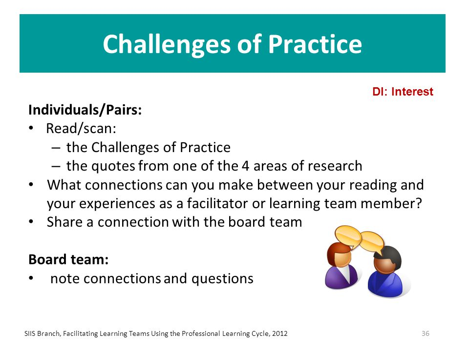 Challenges of Practice Individuals/Pairs: Read/scan: – the Challenges of Practice – the quotes from one of the 4 areas of research What connections ca