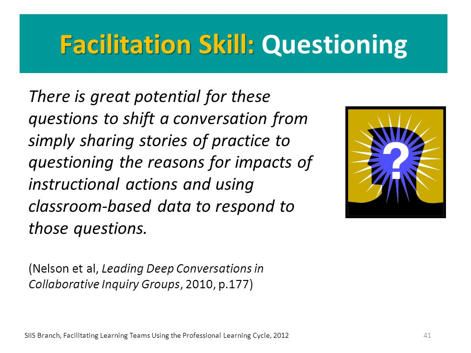 Facilitation Skill: Facilitation Skill: Questioning There is great potential for these questions to shift a conversation from simply sharing stories o