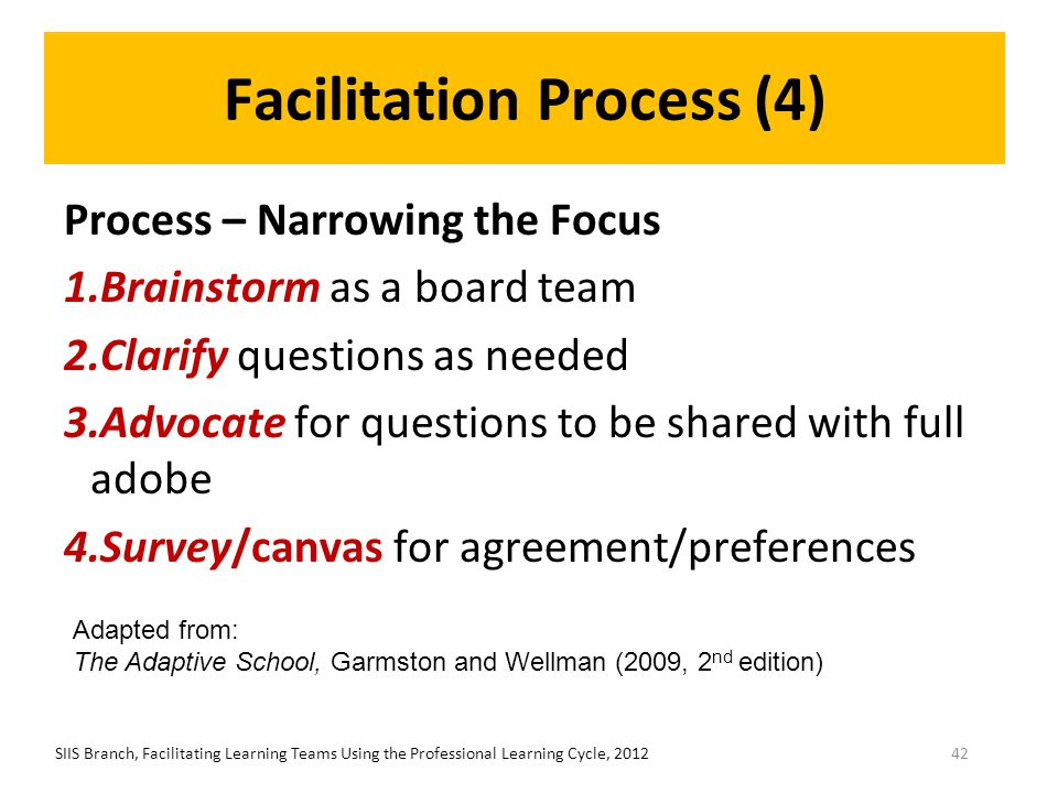 Facilitation Process (4) Process – Narrowing the Focus 1.Brainstorm as a board team 2.Clarify questions as needed 3.Advocate for questions to be share