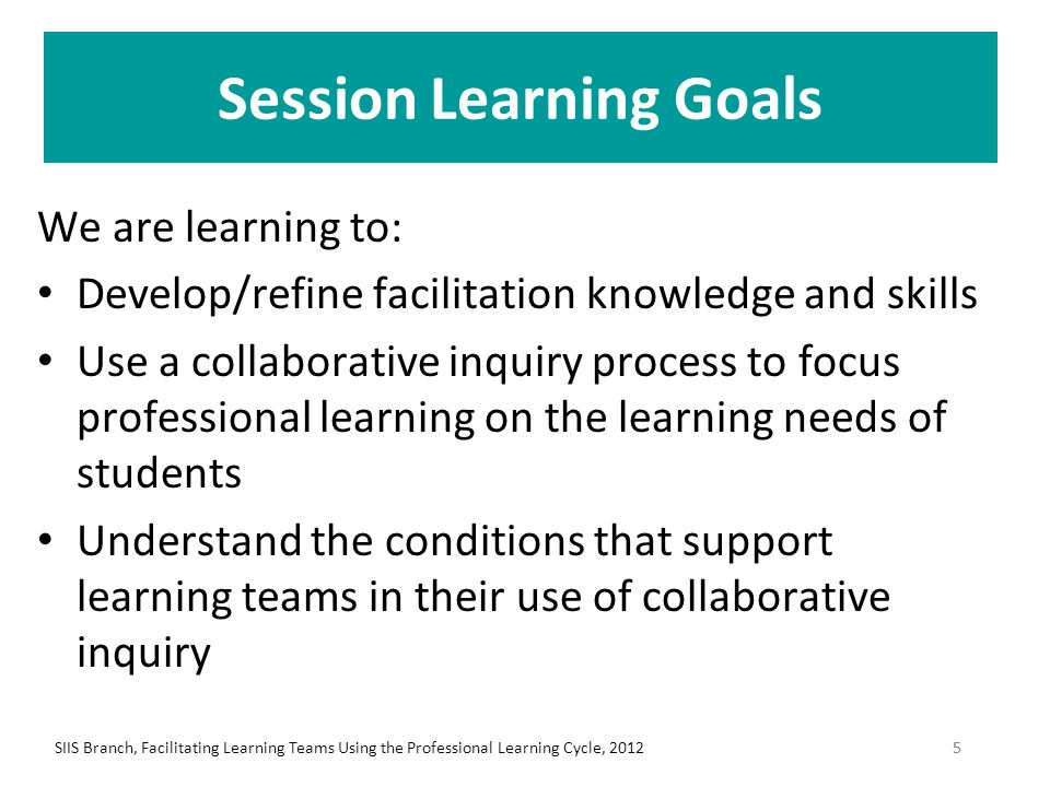 Facilitation (4) Determine roles: (1) facilitator (2) timer and (3) recorder Facilitator: – Focuses group on topic and process Timer: – Manages times so that all can contribute Recorder: – Notes questions generated by board team – Records question(s) and desired result in CHAT POD SIIS Branch, Facilitating Learning Teams Using the Professional Learning Cycle, 201246