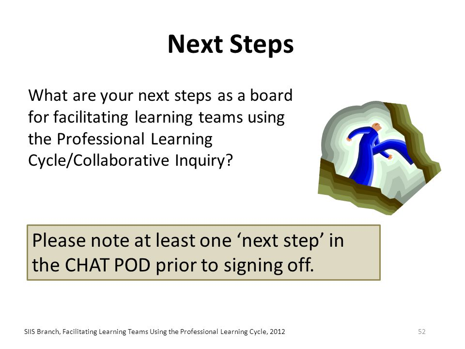 Next Steps What are your next steps as a board for facilitating learning teams using the Professional Learning Cycle/Collaborative Inquiry? SIIS Branc
