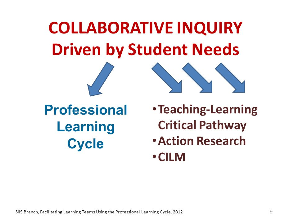 Agreements – Ways of Working Together SIIS Branch, Facilitating Learning Teams Using the Professional Learning Cycle, 201230 Handout #1