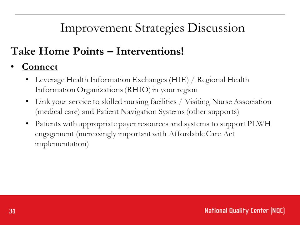 31 Improvement Strategies Discussion Take Home Points – Interventions.