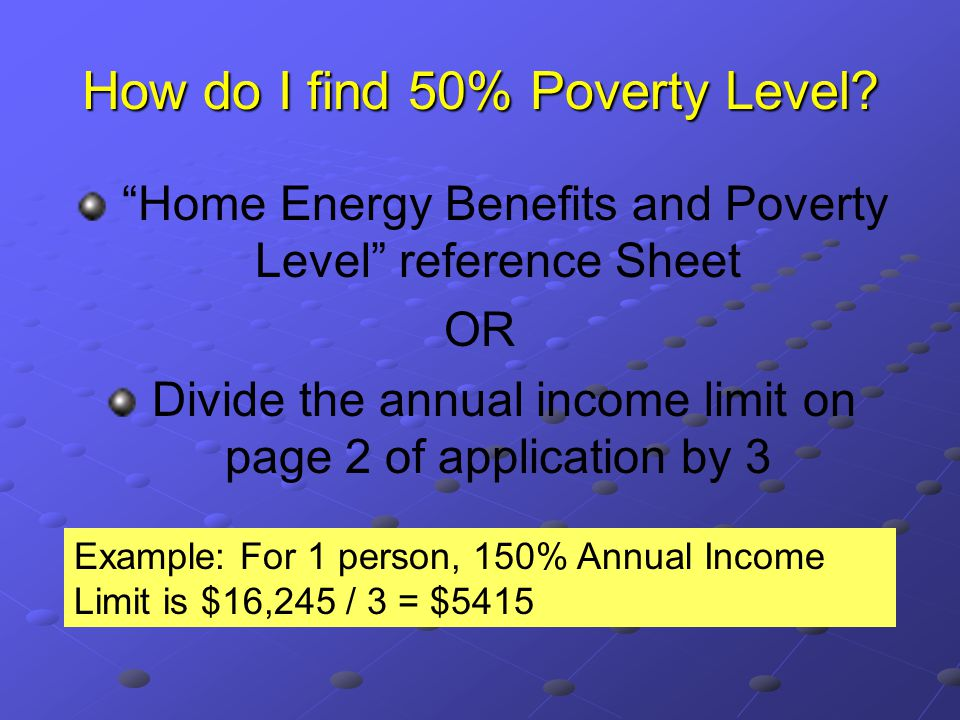 How do I find 50% Poverty Level.