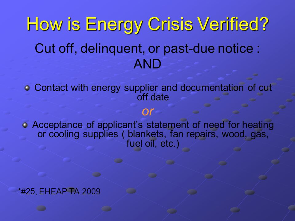 How is Energy Crisis Verified.
