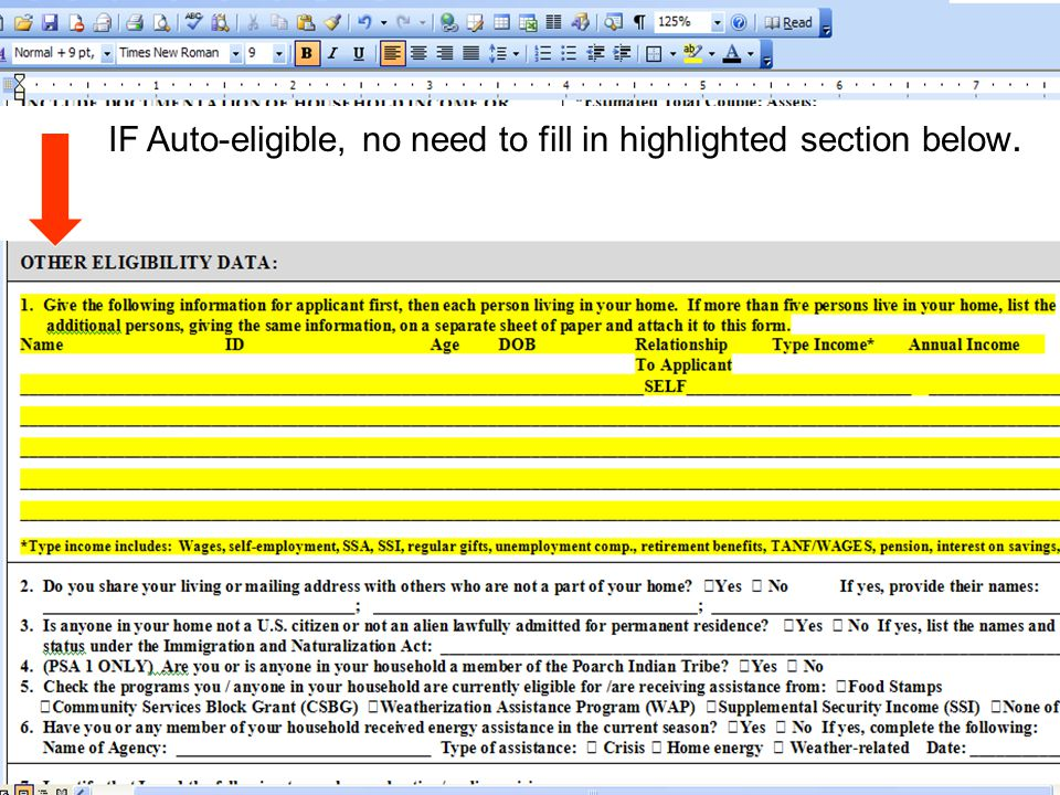 IF Auto-eligible, no need to fill in highlighted section below.