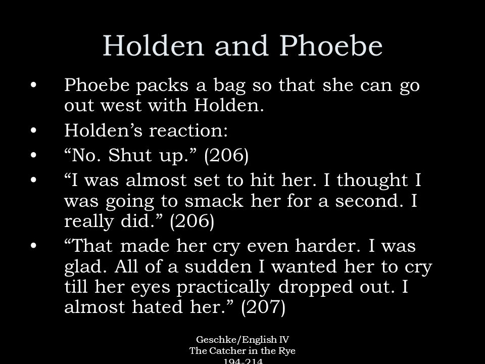 "phobe and holdens essay The catcher in the rye study guide contains a holden labels almost everyone a ""phony,"" excepting phoebe, allie, and himself in holden's essay questions."