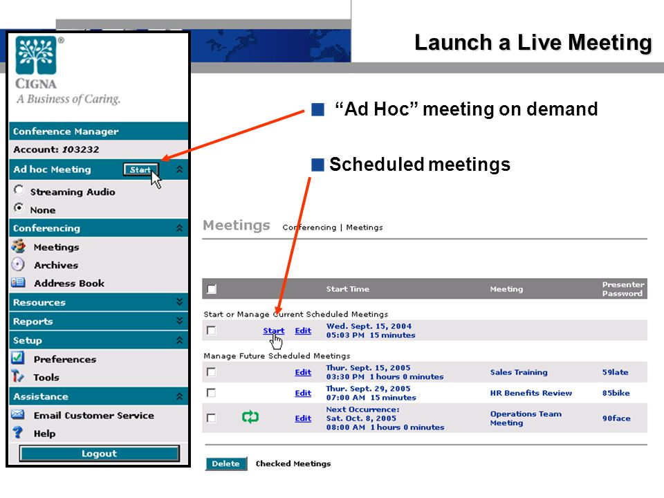 Launch a Live Meeting Ad Hoc meeting on demand Scheduled meetings