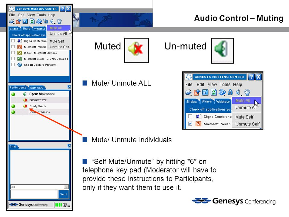 Audio Control – Muting Mute/ Unmute ALL Mute/ Unmute individuals Self Mute/Unmute by hitting *6* on telephone key pad (Moderator will have to provide these instructions to Participants, only if they want them to use it.