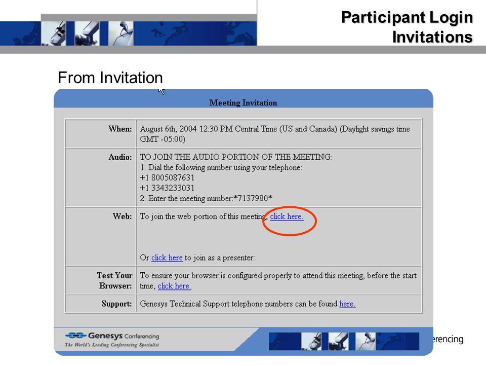 Participant Login Invitations From Invitation