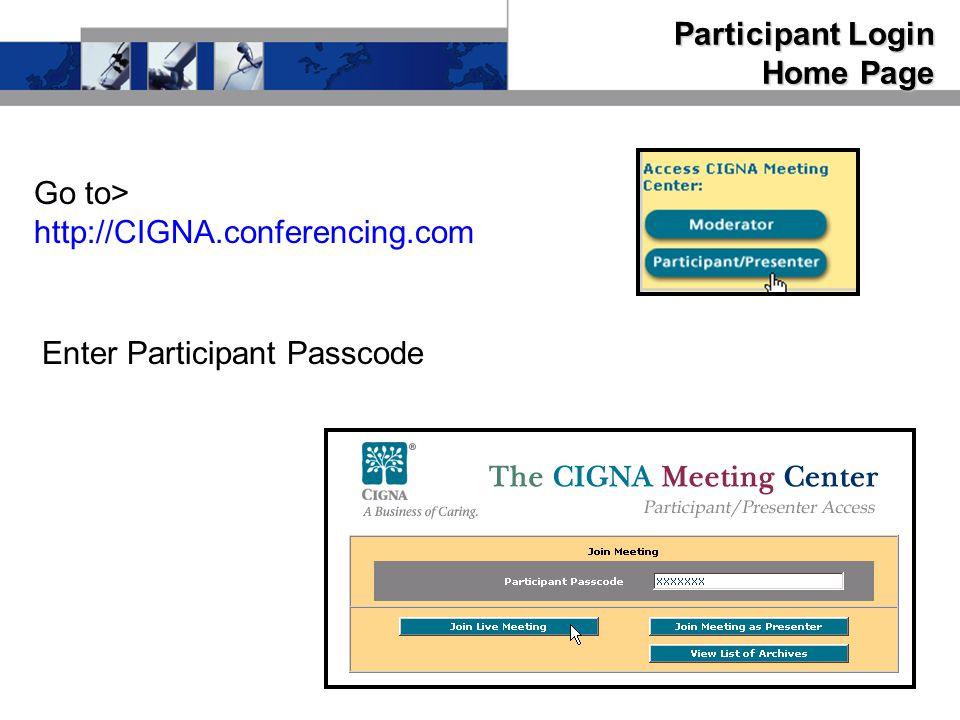 Participant Login Home Page Enter Participant Passcode Go to> http://CIGNA.conferencing.com