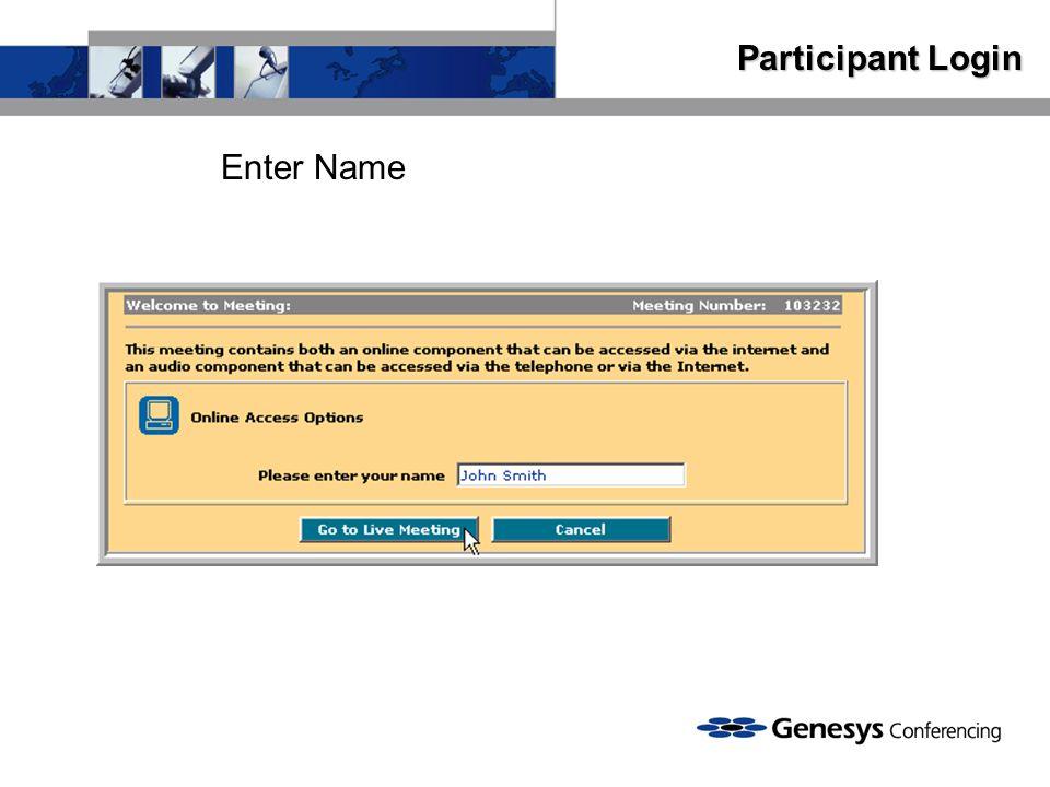 Participant Login Enter Name