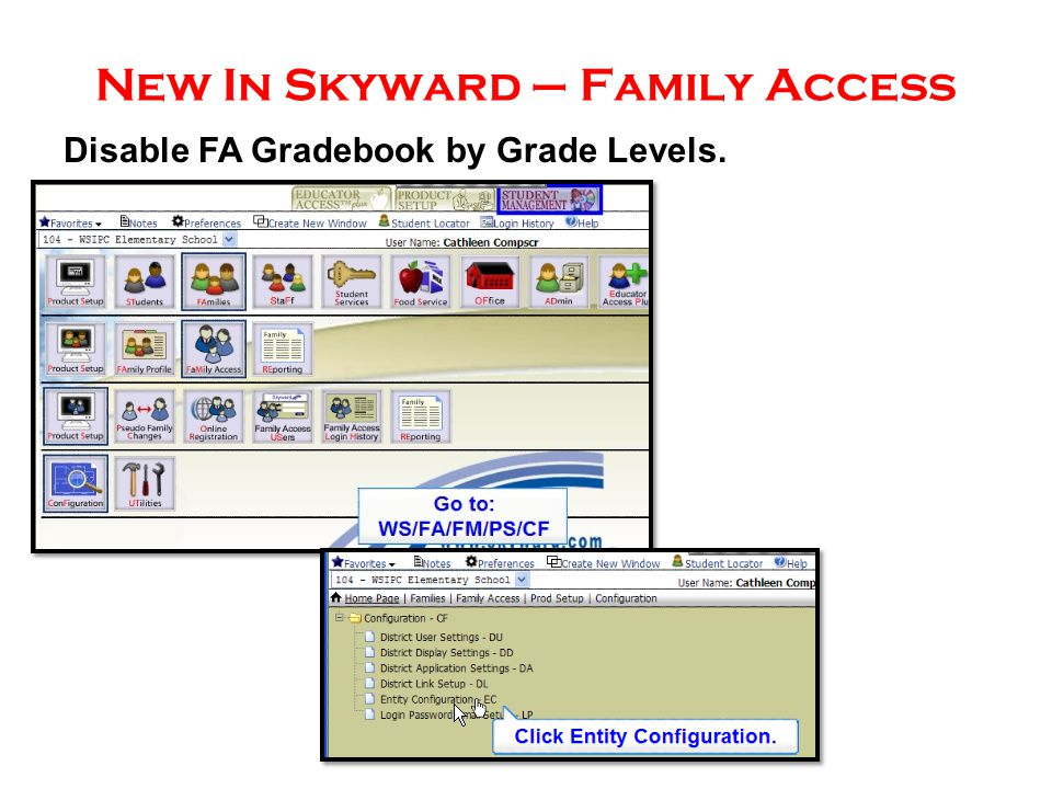New In Skyward – Family Access Disable FA Gradebook by Grade Levels.