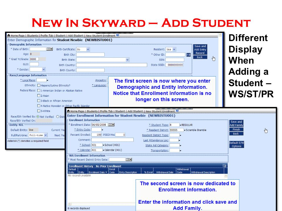 New In Skyward – Add Student Different Display When Adding a Student – WS/ST/PR