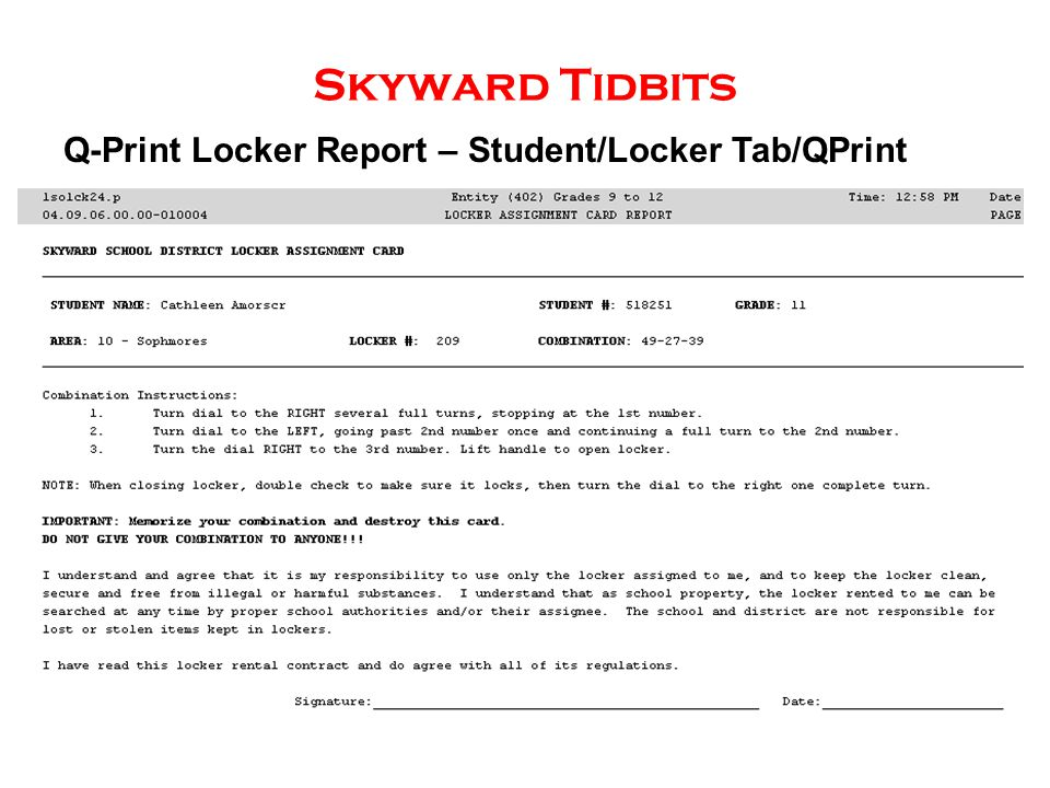 Skyward Tidbits Q-Print Locker Report – Student/Locker Tab/QPrint