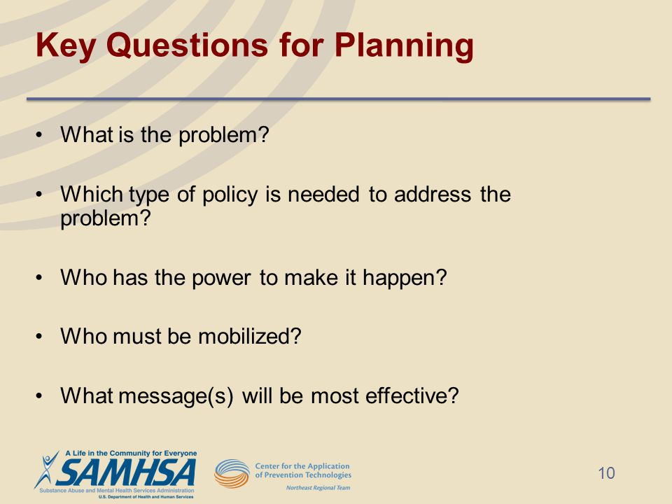 Key Questions for Planning What is the problem.