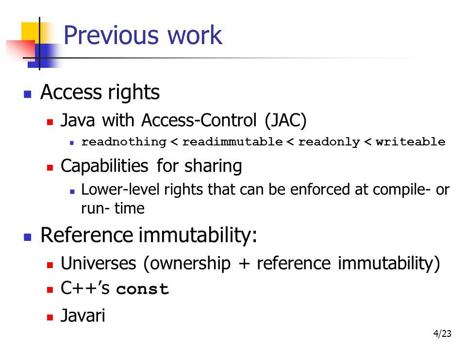 5/23 IGJ - Immutability Generic Java Class immutability All instances are immutable objects Object immutability: An object: mutable or immutable Reference immutability: A reference: mutable, immutable, or readonly