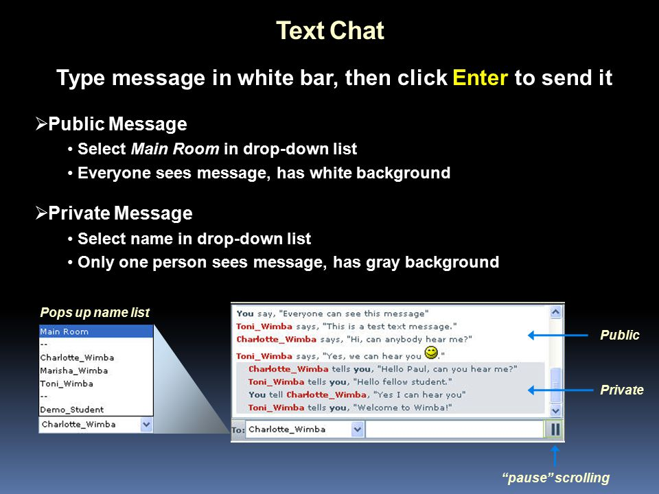Text Chat  Public Message Select Main Room in drop-down list Everyone sees message, has white background  Private Message Select name in drop-down list Only one person sees message, has gray background Private Public pause scrolling Type message in white bar, then click Enter to send it Pops up name list
