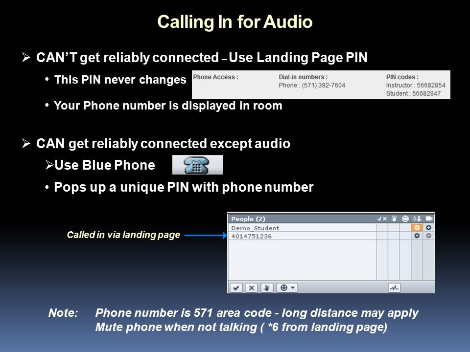 Calling In for Audio Note: Phone number is 571 area code - long distance may apply Mute phone when not talking ( *6 from landing page)  CAN get reliably connected except audio  Use Blue Phone Pops up a unique PIN with phone number  CAN'T get reliably connected – Use Landing Page PIN This PIN never changes Your Phone number is displayed in room Called in via landing page