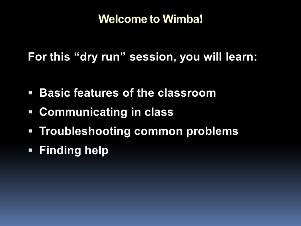 Welcome to Wimba.