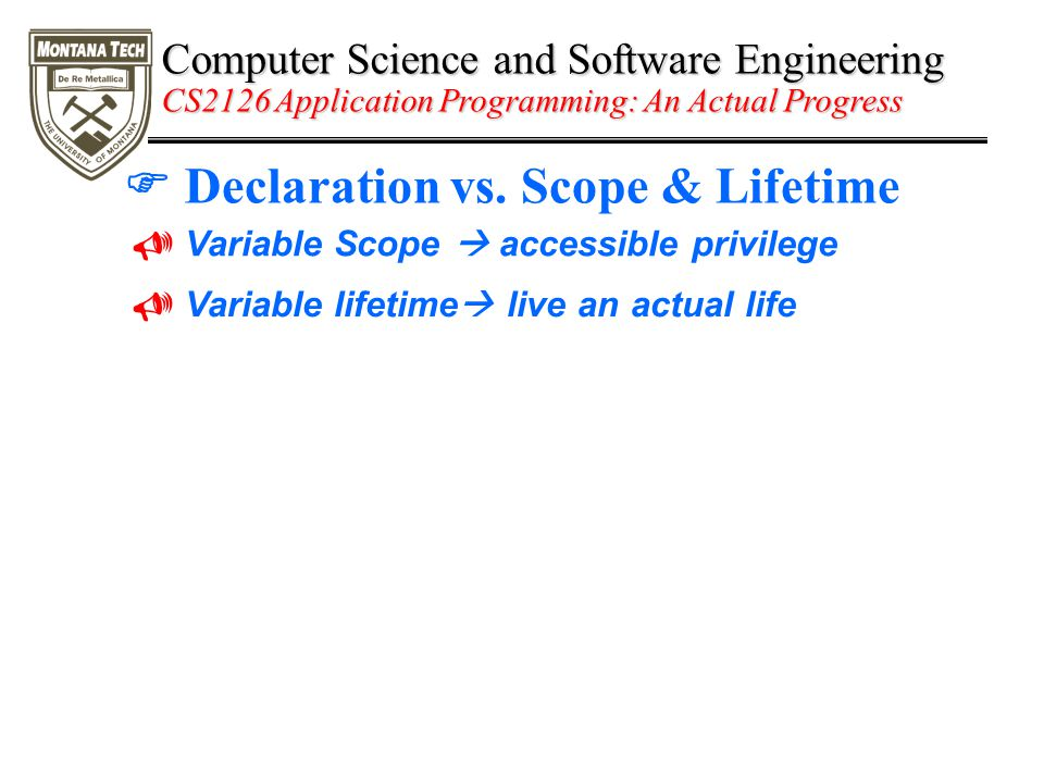 Computer Science and Software Engineering CS2126 Application Programming: An Actual Progress  Declaration vs.