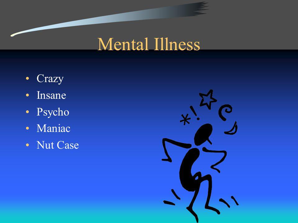 Mental Illness Crazy Insane Psycho Maniac Nut Case