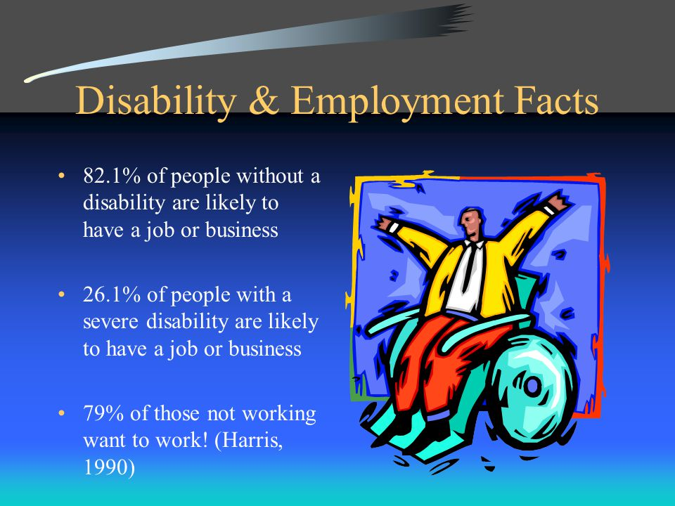 Disability & Employment Facts 82.1% of people without a disability are likely to have a job or business 26.1% of people with a severe disability are likely to have a job or business 79% of those not working want to work.
