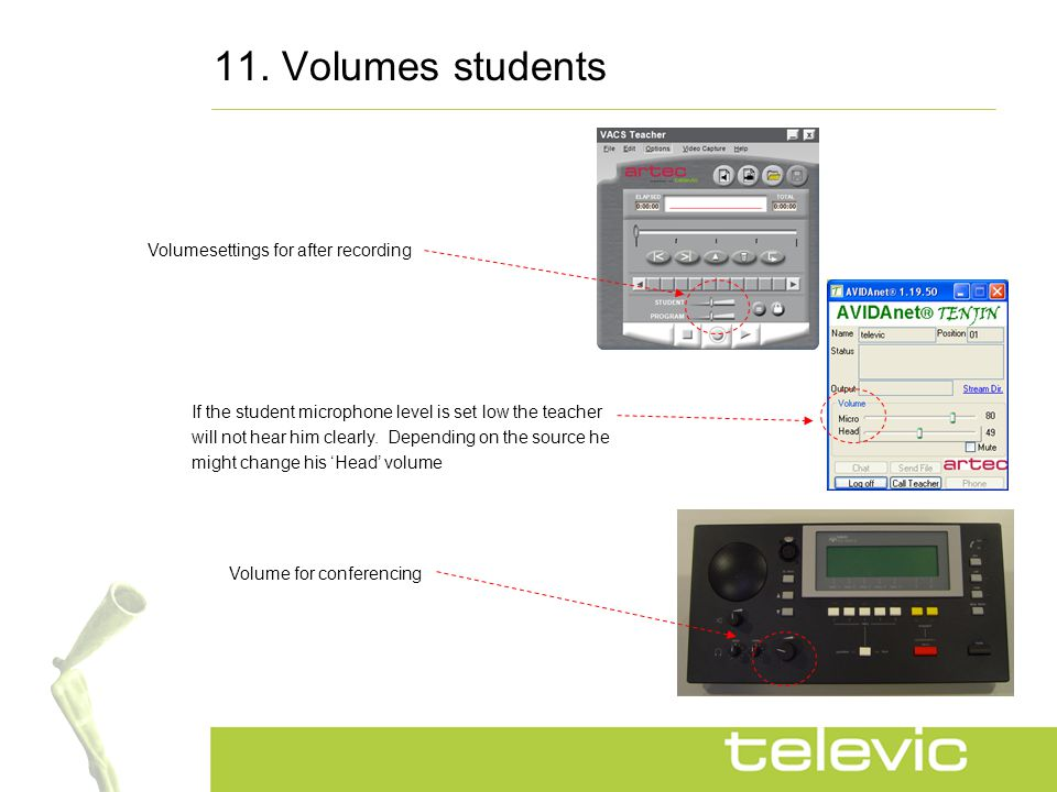 11. Volumes students If the student microphone level is set low the teacher will not hear him clearly. Depending on the source he might change his 'He
